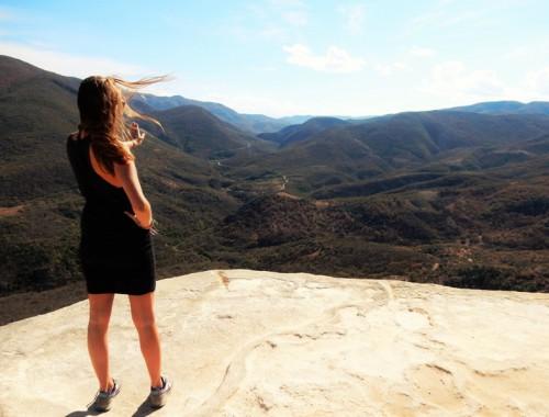Hierve el Agua uitzicht op Sierra Madre