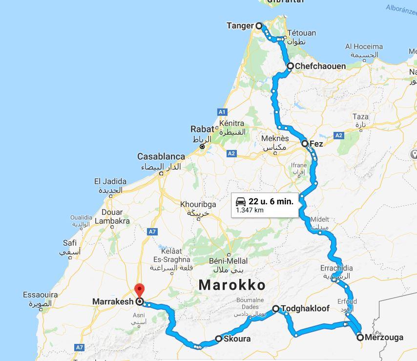 Route huwelijksreis